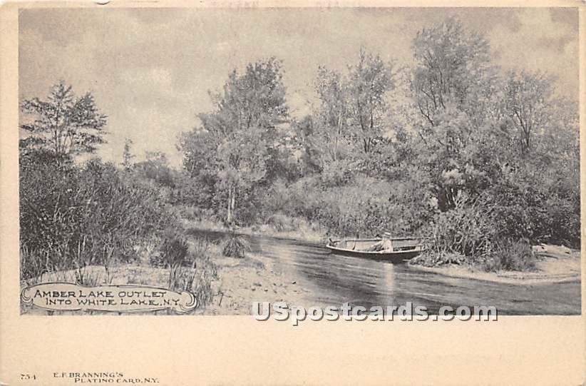 Amber Lake Outlet - White Lake, New York NY Postcard