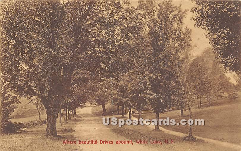 Where Beautiful Drives Abound - White Lake, New York NY Postcard