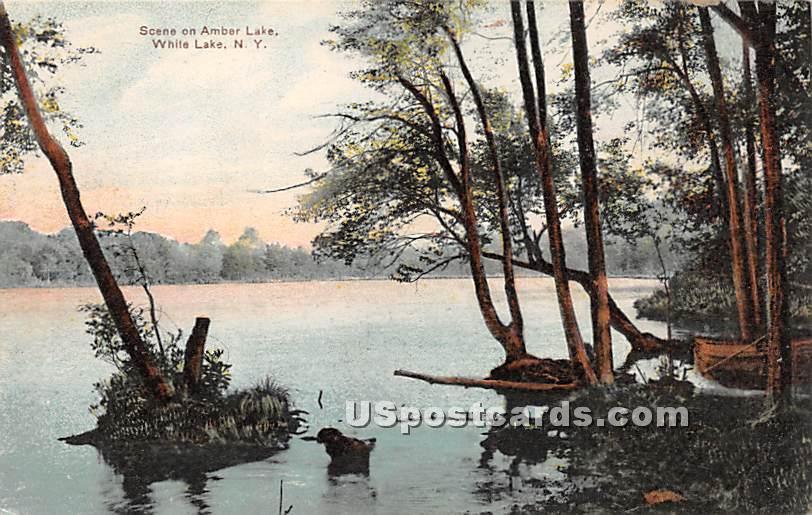 Scene on Amber Lake - White Lake, New York NY Postcard