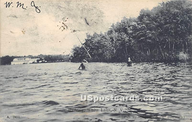 Bathing - White Lake, New York NY Postcard