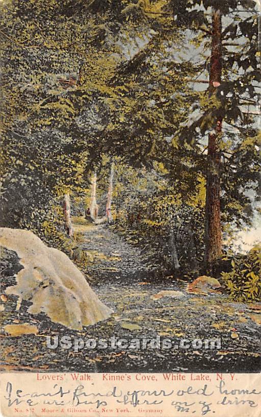 Lovers' Walk - White Lake, New York NY Postcard