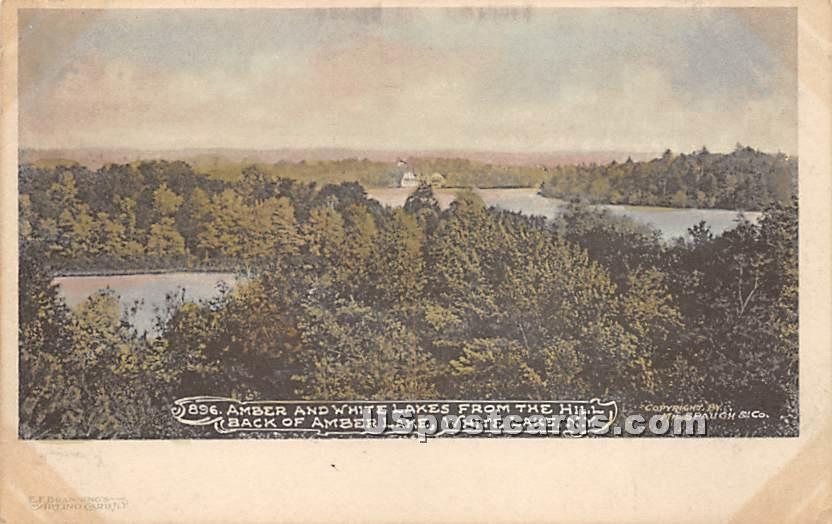 Amber and White Lakes - New York NY Postcard
