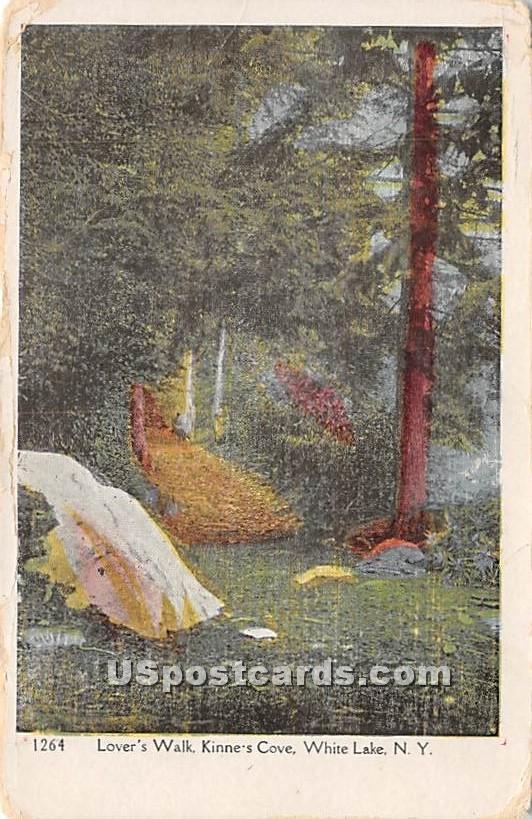 Lover's Walk - White Lake, New York NY Postcard