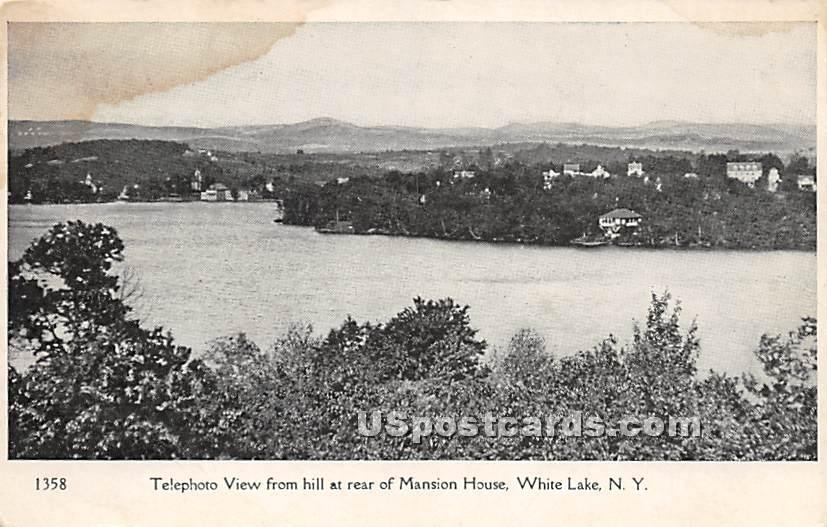 Telephoto View form Hill - White Lake, New York NY Postcard