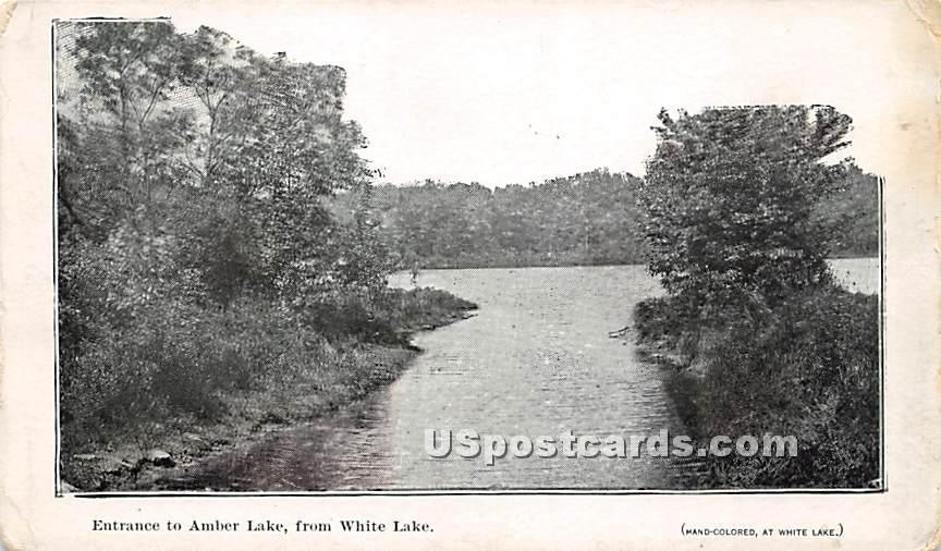 Entrance to Amber Lake - White Lake, New York NY Postcard