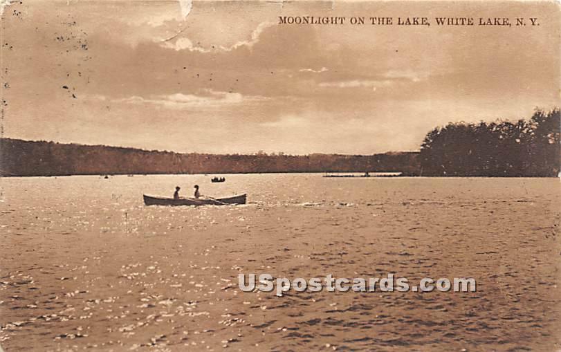 Moonlight on the Lake - White Lake, New York NY Postcard