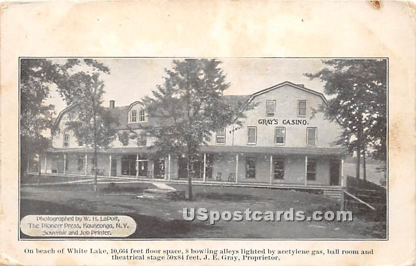 Grays Casino - White Lake, New York NY Postcard