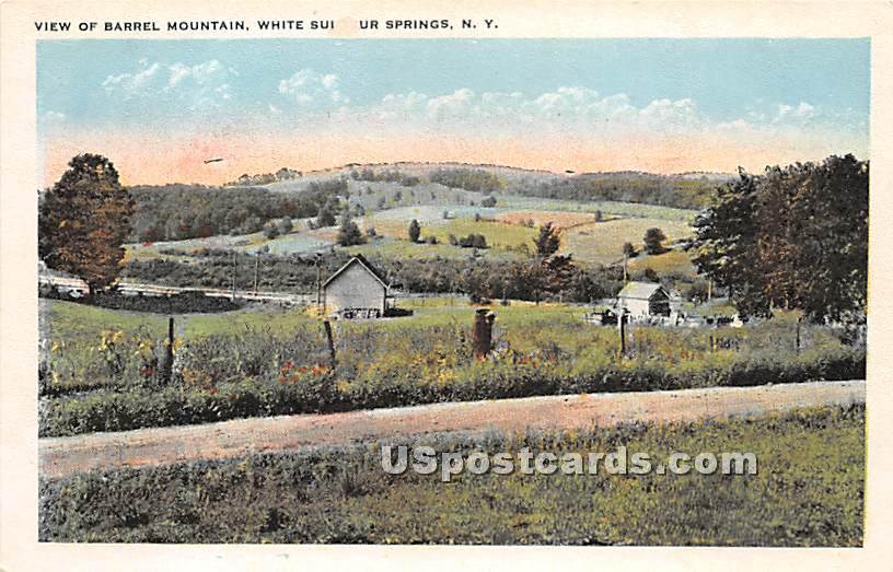 View of Barrel Mountain - White Sulphur Springs, New York NY Postcard