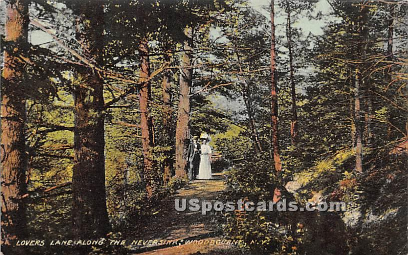 Lovers Lane along the Neversink - Woodbourne, New York NY Postcard