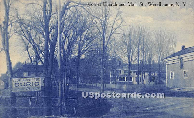 Corner Church & Main Street - Woodbourne, New York NY Postcard