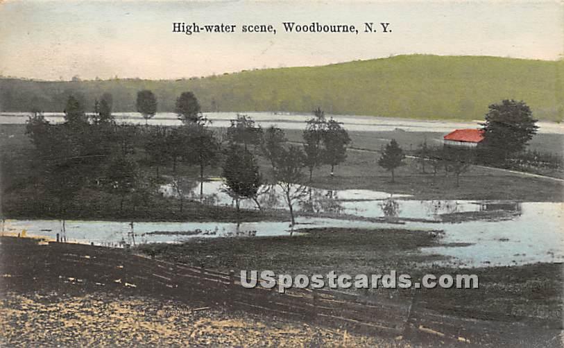 High Water Scene - Woodbourne, New York NY Postcard