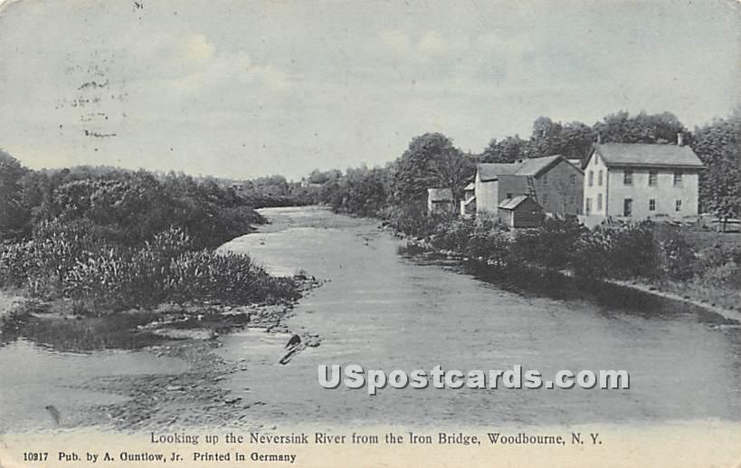 Looking up the Neversink River - Woodbourne, New York NY Postcard