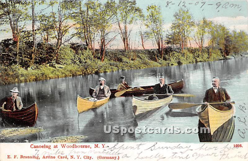 Canoeing - Woodbourne, New York NY Postcard