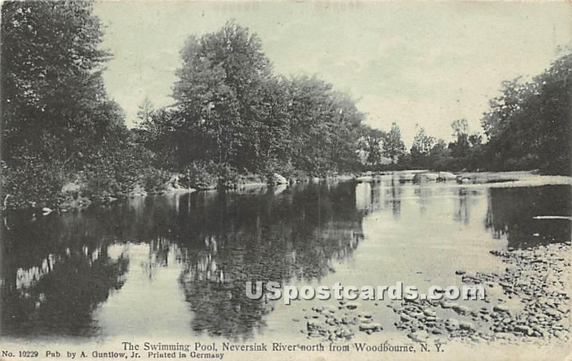 Swimming Pool in the Neversink River - Woodbourne, New York NY Postcard