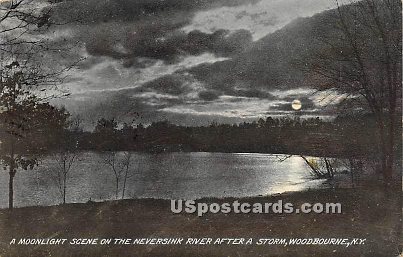Moonlight Scene on the Neversink - Woodbourne, New York NY Postcard