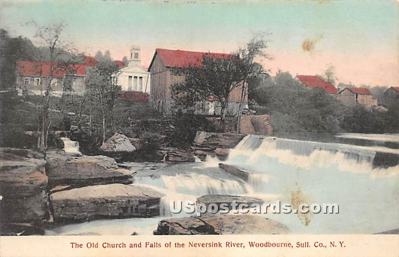 Old Church and Falls of the Neversink River - Woodbourne, New York NY Postcard