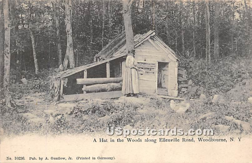Hut in the Woods along Ellenville Road - Woodbourne, New York NY Postcard