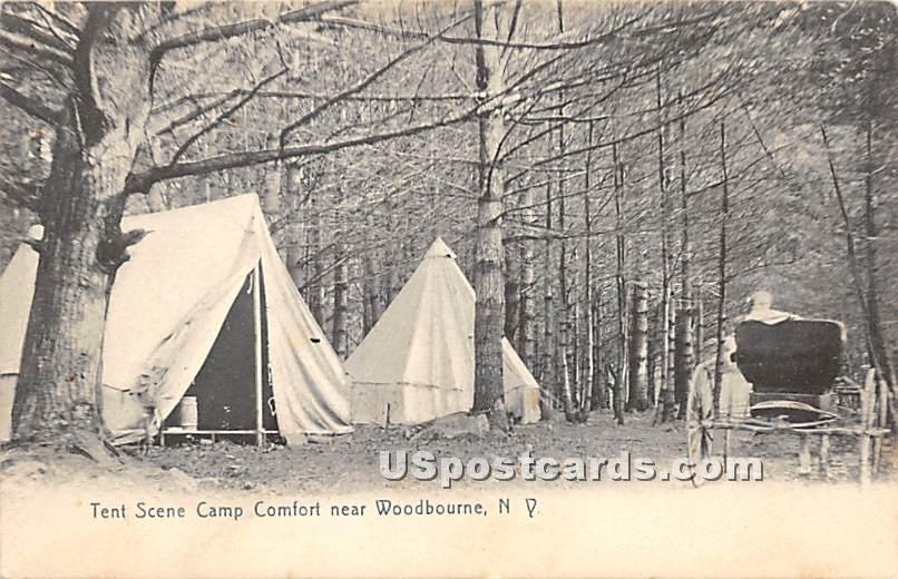 Tent Scene Camp Comfort - Woodbourne, New York NY Postcard