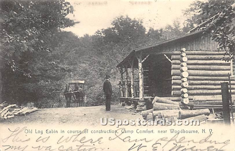 Old Log Cabin in Course of Construction - Woodbourne, New York NY Postcard