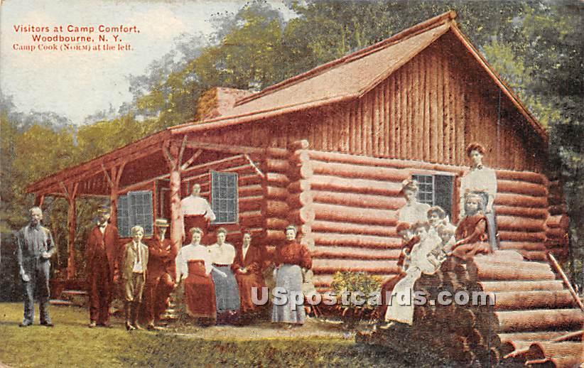 Visitors at Camp Comfort - Woodbourne, New York NY Postcard