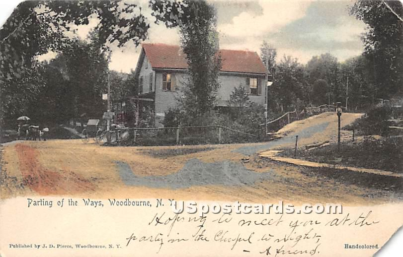 Parting of the Ways - Woodbourne, New York NY Postcard