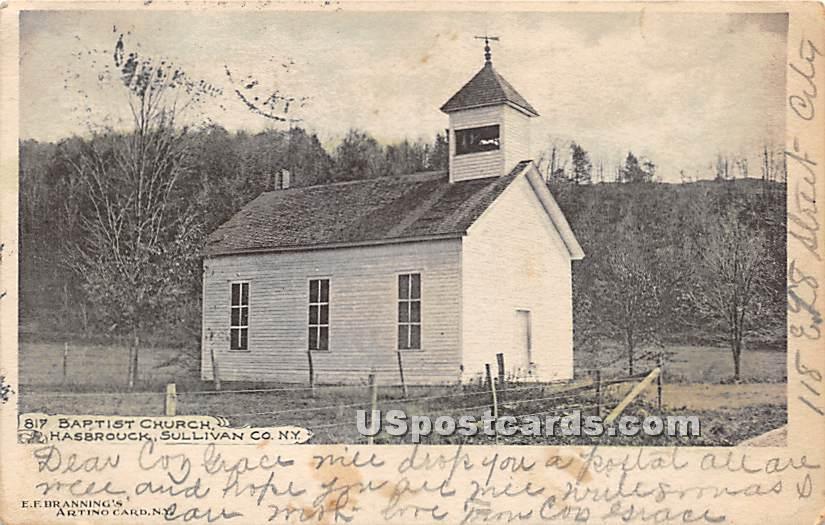 Baptist Church - Woodbourne, New York NY Postcard