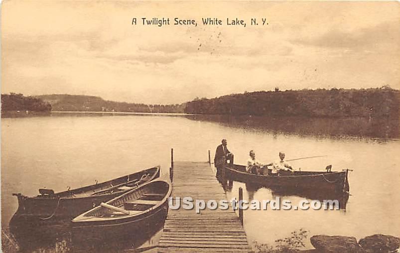 A Twilight Scene - White Lake, New York NY Postcard