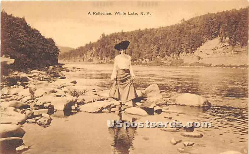 A Reflection - White Lake, New York NY Postcard