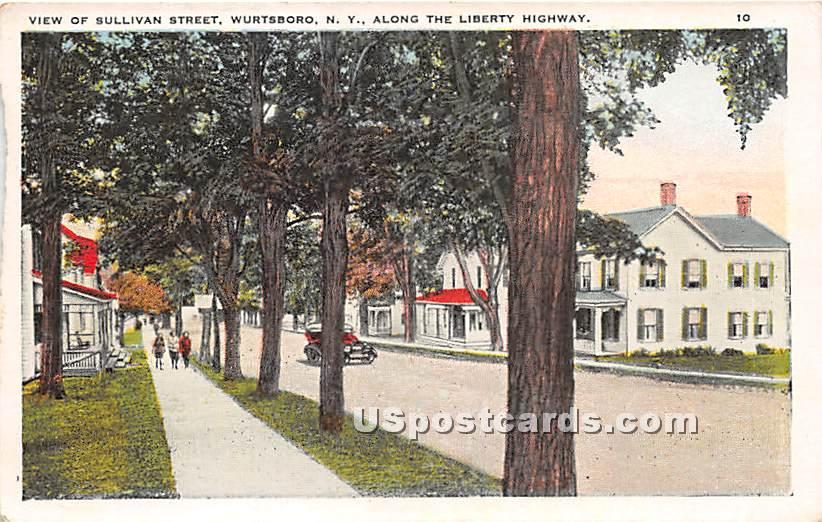 View of Sullivan Street - Wurtsboro, New York NY Postcard