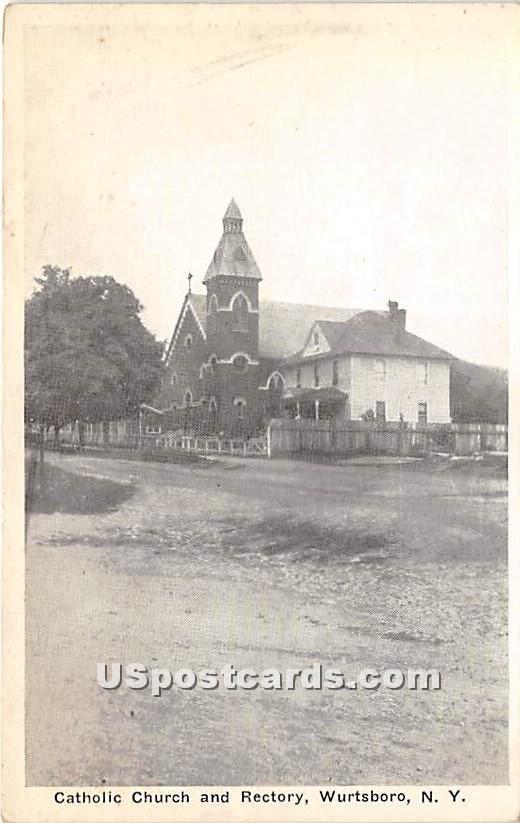 Catholic Church and Rectory - Wurtsboro, New York NY Postcard