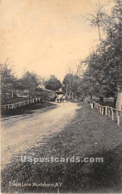 Lovers Lane - Wurtsboro, New York NY Postcard