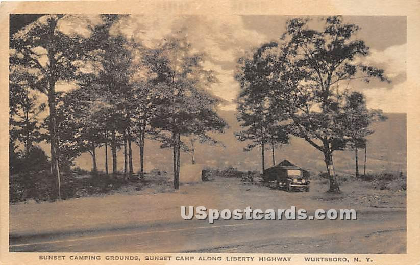 Sunset Camping Grounds - Wurtsboro, New York NY Postcard