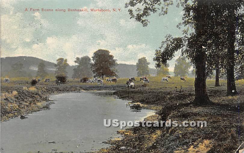 A Farm Scene along Bashaskill - Wurtsboro, New York NY Postcard