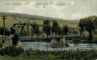 Bridge across the Susquehanna - Wellsbridge, New York NY Postcard