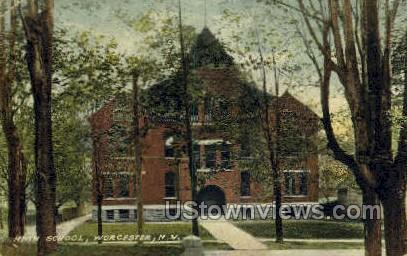 High School, Worcester - New York NY Postcard
