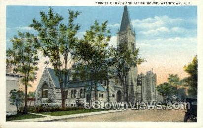 Trinity Church & Parish House - Watertown, New York NY Postcard