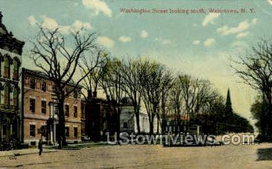 Washington Street - Watertown, New York NY Postcard