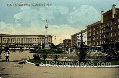 Public Square, West - Watertown, New York NY Postcard