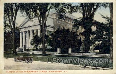 New Masonic Temple - Watertown, New York NY Postcard