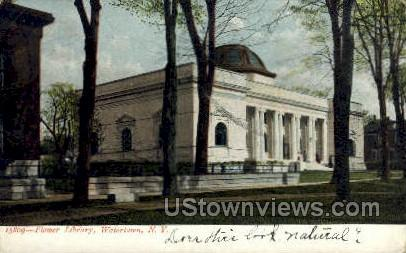 Flower Library - Watertown, New York NY Postcard