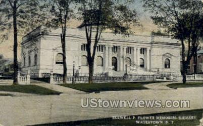 Roswell P. Flower Memorial Library - Watertown, New York NY Postcard