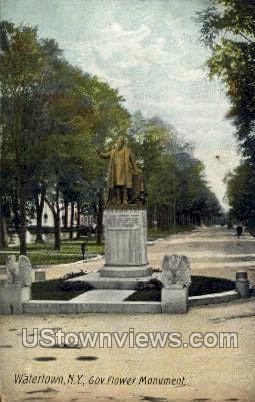 Gov. Flower Monument - Watertown, New York NY Postcard