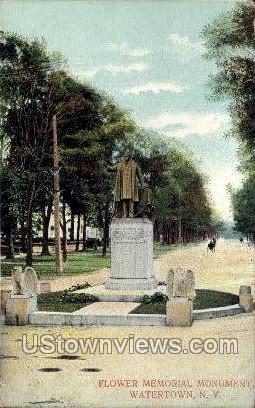 Flower Memorial Monument - Watertown, New York NY Postcard