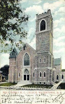 Holy Family R.C. Church - Watertown, New York NY Postcard