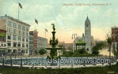 Fountain, Public Square - Watertown, New York NY Postcard