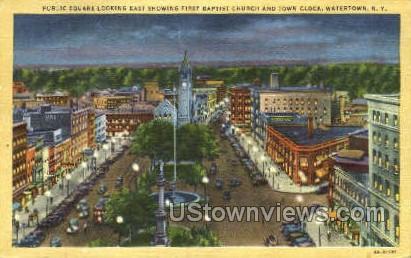 First Baptist Church & Town Clock - Watertown, New York NY Postcard