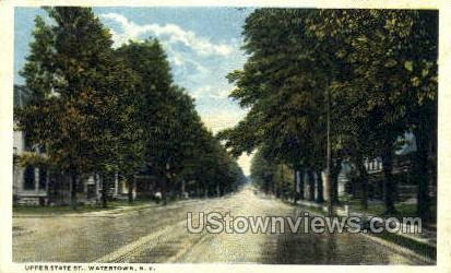 Upper State St. - Watertown, New York NY Postcard