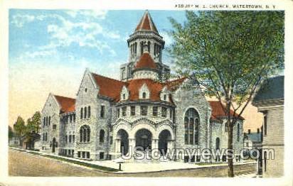 Asbury M.E. Church - Watertown, New York NY Postcard