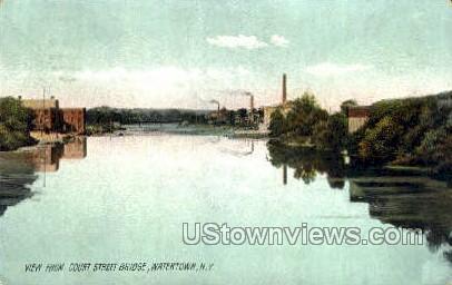 Court Street Bridge - Watertown, New York NY Postcard