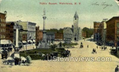 Public Square - Watertown, New York NY Postcard